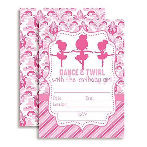 Dance and Twirl Ballerina Birthday Party Invitations for Girls, 20 5