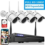 【2019 New 8CH Expandable】OHWOAI Security Camera System Wireless, 8CH 1080P NVR, 4Pcs 1080P HD Outdoor/ Indoor IP Cameras,Home CCTV Surveillance System(1TB Hard Drive)Waterproof,Remote Access,Plug&Play