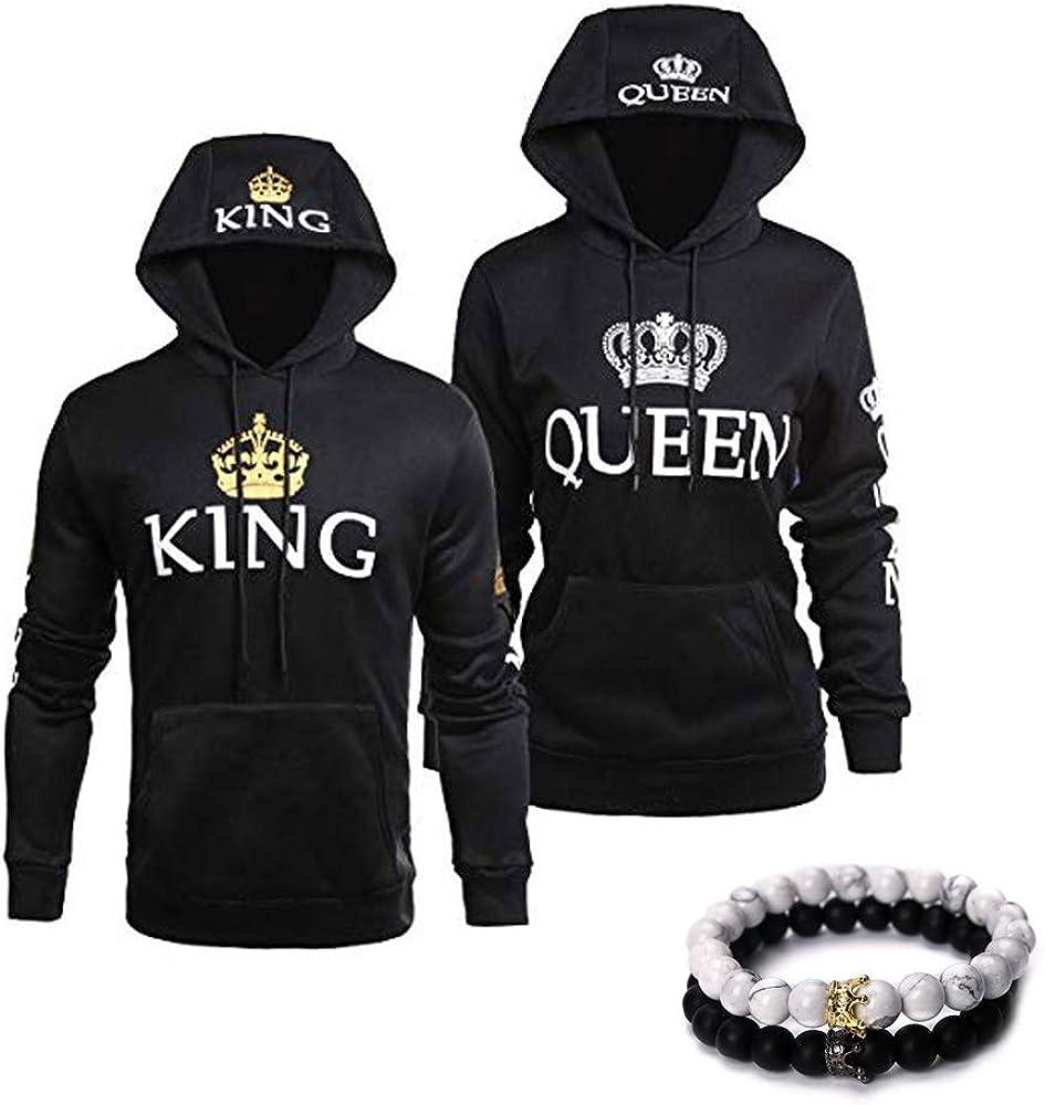 Men/'s Women/'s Couple King Queen Hooded Sweater Shirt Hoodie Coat Pullover Tops