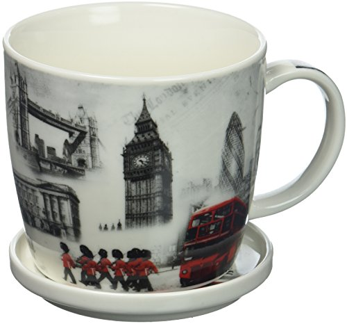 (The Leonardo Collection Fine China London Commemorative Mug & Coaster Delivered In a Gift Box, White)
