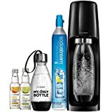 SodaStream Fizzi Sparkling Water Machine Bundle (Black), with CO2, 1/2 Liter BPA-Free My Only Bottle, and 0 Calorie Fruit Drops Flavors