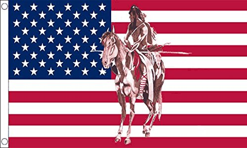Usa Indian Horse Flag 5Ft X 3Ft Native American Indian Banner With 2 Eyelets New by USA Indian Horse