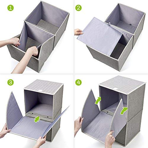 and Office EZOWare 2-Tier Storage Organizer Nursery Home Collapsible Cube Basket Bins Boxes with Pull Down Opening for Home Gray 885157983518