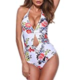 ROPALIA Women's Beach Swimsuit Floral Sexy Sling Strap-up one-Piece Swimsuit Slim-fit Open Back
