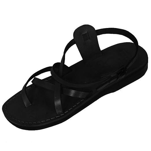 Black Genuine Leather Roman Jesus Sandals #903 sizes US Womens 6-14 EU 36-46 (US Womens 6 EU 36)