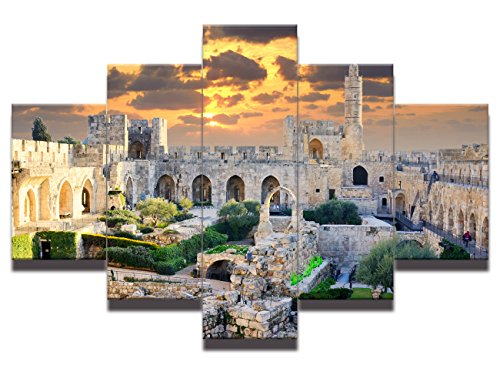 (Ancient Modern Painting on Canvas wall art Arabic David Tower Wall Art Mosque Muslim Prints Home Decor for living room Pictures 5 Panel Multi Piece HD printed Giclee Framed Ready)