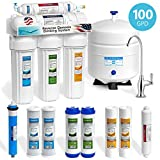 Express Water 5 Stage Under Sink Reverse Osmosis Water Filtration System 100 GPD RO Membrane Filter Deluxe Chrome Faucet Ultra Safe Residential Home Drinking Water Purification Extra Set of 4 Filters