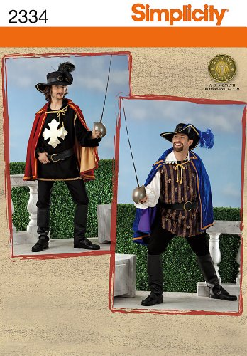 Simplicity 2334 Sew Pattern MEN'S COSTUME Men's musketeer costume includes easy cape, shirt, tabard, hat, belt and boot covers Size XS, S, M ()