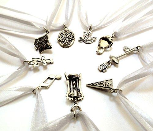 Uplifting Wedding Cake Pull Charms - Silver Ribbon - Set of Nine (9)