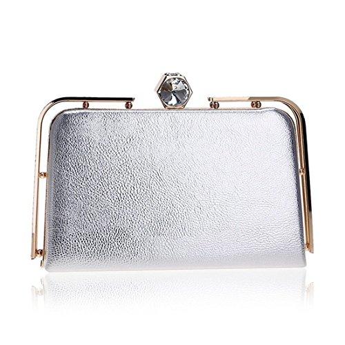 KERVINFENDRIYUN Silver Dress Silver Crossbody Gold Women's Color Bag Purse Shoulder Evening Silver Clutch Black rYrfw