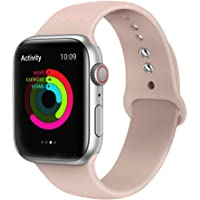 Ontube Bands Compatible with Apple Watch,Soft Silicone Adjustable Sport Replacement Straps for iWatch Series 5/4/3/2/1 (38MM/40MM, Pink Sand)
