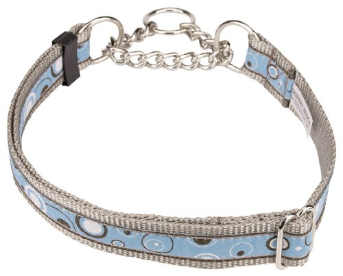 Blue and Brown Orbs Woven Ribbon Half Check Dog Collar Limited Edition-Large