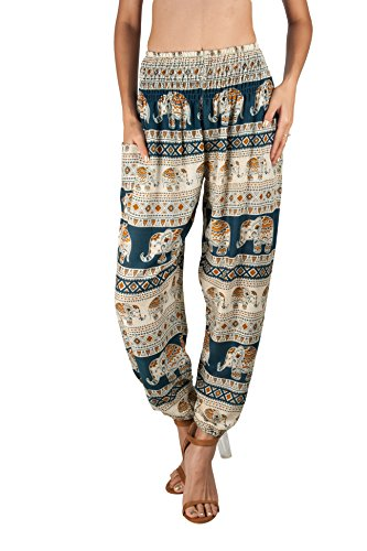 JOOP JOOP Bohemian Tapered Elephant Harem Loose Yoga Pants,Teal,L/XL Printed Lounge Pants