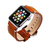 Kobwa 42mm Watch Leather Wrist Band for Apple, Premium Vintage Crazy Horse Leather Watches Band with Secure Metal Clasp Classic Buckle Replacement Strap for Apple Watch Series 1 Series 2