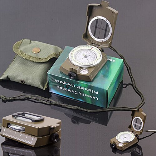 New Professional Pocket Military Army Geology Compass for Outdoor Hiking (Professional Brass Pencil Compass)