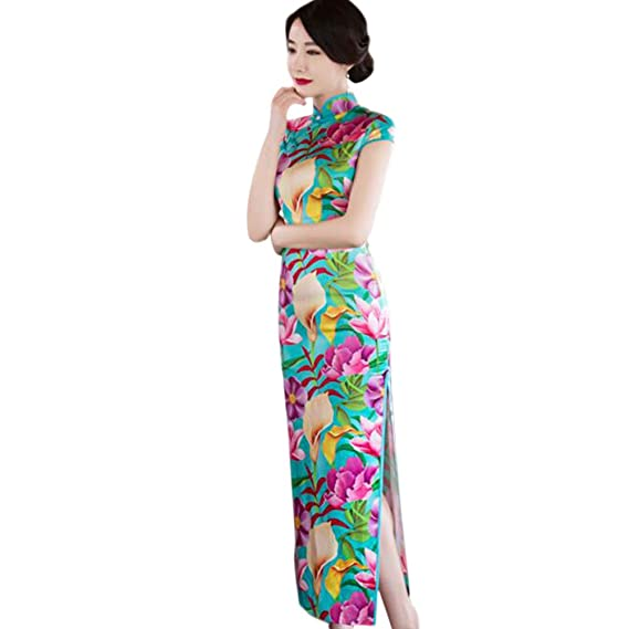 Meijunter Elegant Women Traditional Floral Printed Cheongsam Evening Dress Silk Slim Qipao Long Dress Robe M