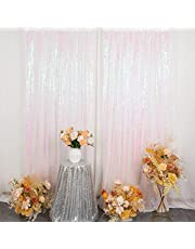 Pardecor Sequin Curtains Panels Sequin Backdrop Curtain Glitter Curtains Sparkle Photo Booth Backdrop Shimmer Backdrop for PartiesWeddingBackdrop (1pc 2ftx7ft, Iridescent White)