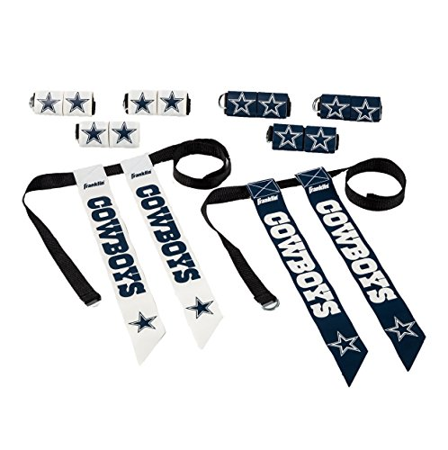 Franklin Sports Dallas Cowboys Flag Football Set - 8 Flag Belts - 8 Player - Self Stick Tear-Away Flags - NFL Official Licensed -