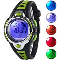 Viliysun Reloj digital LED 50M multifunción para niños, reloj digital deportivo impermeable para regalar a niños, niñas., Verde