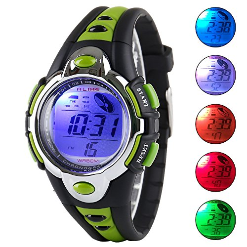 Plastic Transparent Watch (Kid Watch Multi Function Digital LED Sport 50M Waterproof Electronic Digital Outdoor Watches Alarm for Boy Girl Children Gift (green))
