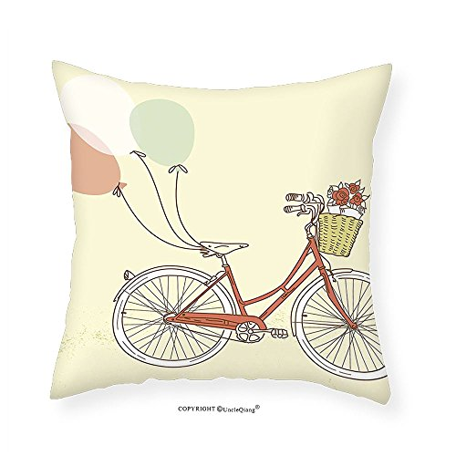 VROSELV Custom Cotton Linen Pillowcase Romantic Vintage Retro Bicycle Bike with Baloons Basket with Flowers Art for Bedroom Living Room Dorm Pink Blue and Egg Shell 24
