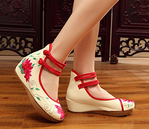 Wedge Women Straps Embroidery AvaCostume Shoe Floral Ankle Red2 qZ4SZxnt