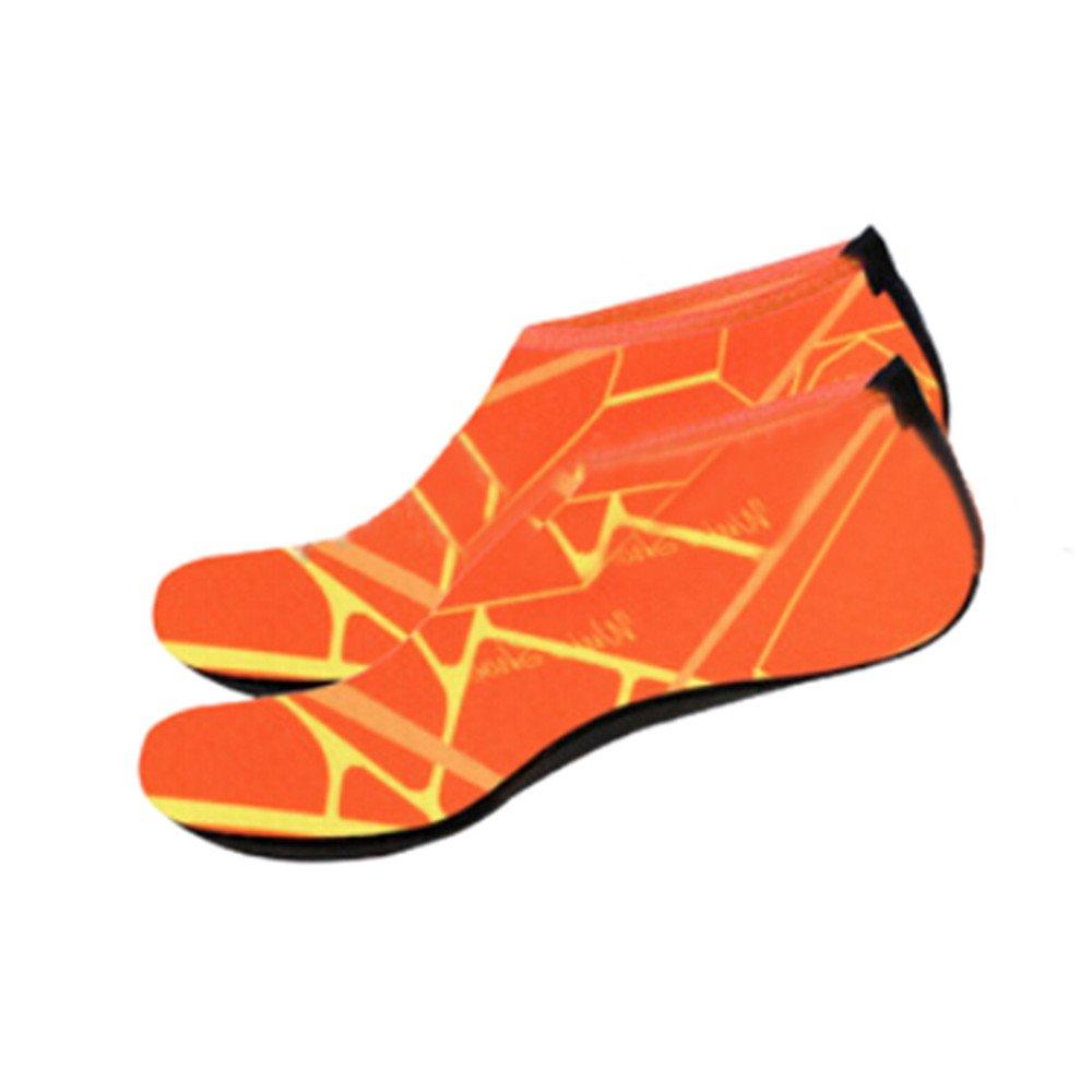 Han Shi Water Shoes, Men Women Fashion Outdoor Sports Diving Swim Soft Beach Yoga Socks (M, Orange)