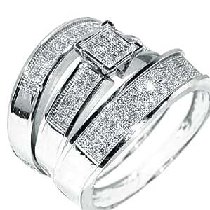 White Gold Trio Wedding Set Mens Womens Wedding Rings ...