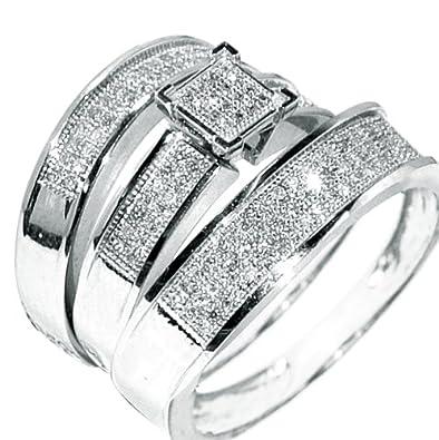 white gold trio wedding set mens womens wedding rings matching 038ct w diamond - Wedding Rings Amazon