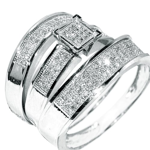 white gold trio wedding set mens womens wedding rings matching 038ct w diamondamazoncom