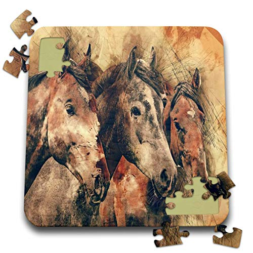 3dRose Lens Art by Florene - Watercolor Art - Image of Three Majestic Brown Horses in Watercolors - 10x10 Inch Puzzle (pzl_306892_2)