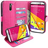 BLU Studio 6.0 LTE Case, LK Kickstand Feature Luxury PU Leather Wallet Case Flip Cover Built-in Card Slots Stand For BLU Studio 6.0 LTE, HOT PINK