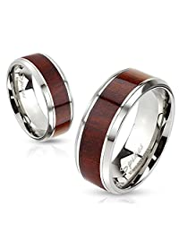 Men's 8 mm Band Free Inside Engraving Wooden Stainless Steel Wedding Band, Engagement Band, Band for Him