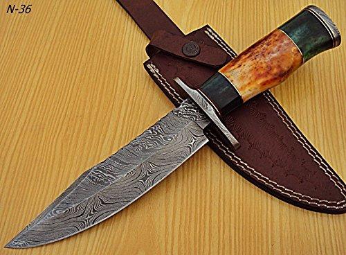 - Poshland Knives REG-N-36- Custom Handmade Damascus Steel 12 Inches Hunting Knife- Beautiful Camel Bone Handle with Damascus Steel Guards