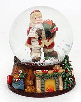 Bellisima palla di vetro con neve, Disegno: Babbo Natale con bambino, circa 8 x 9 cm/ Ø 6,5 cm Dekohelden24