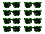 8-Bit Pixelated Sunglasses Birthday Party Favors (8 Pack) - Party Bag Fillers for Miner Themed Parties
