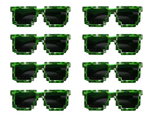 8-Bit Pixelated Sunglasses Birthday Party Favors (8 Pack) - Party Bag Fillers for Miner Themed - Party Sunglasses Pixel