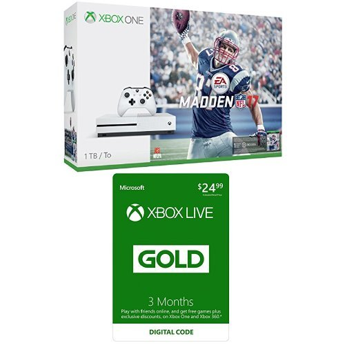 Xbox One S 1TB Console with Madden NFL 17 + Xbox Live 3 Month Gold Membership Bundle