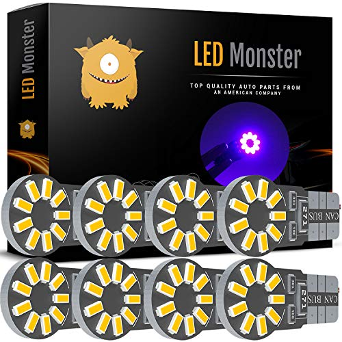 LED Monster 8-Pack Purple 18-SMD LED Light Bulb for License Plate Interior Map Dome Side Marker Light 194 168 2825 175 192 W5W T10 Wedge Super Bright High Power 3016
