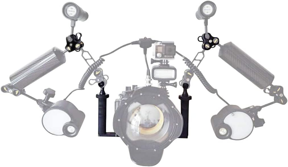 ZQ House Dual Handle Aluminium Tray Stabilizer with Dual Ball Aluminum Alloy Clamp for Underwater Camera Housings