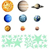 Modernlife 36pcs Removable Luminous Wall Stickers, Glow in The Dark 9 Planet and 27pcs Stars, Solar System Glowing Planets Wall Decals Peel Stick Art Decor for Walls Ceiling Kids Bedroom