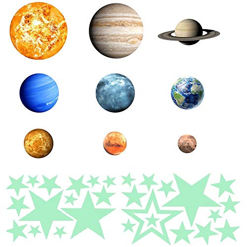 - Modernlife 36pcs Removable Luminous Wall Stickers, Glow in The Dark 9 Planet and 27pcs Stars, Solar System Glowing Planets Wall Decals Peel Stick Art Decor for Walls Ceiling Kids Bedroom