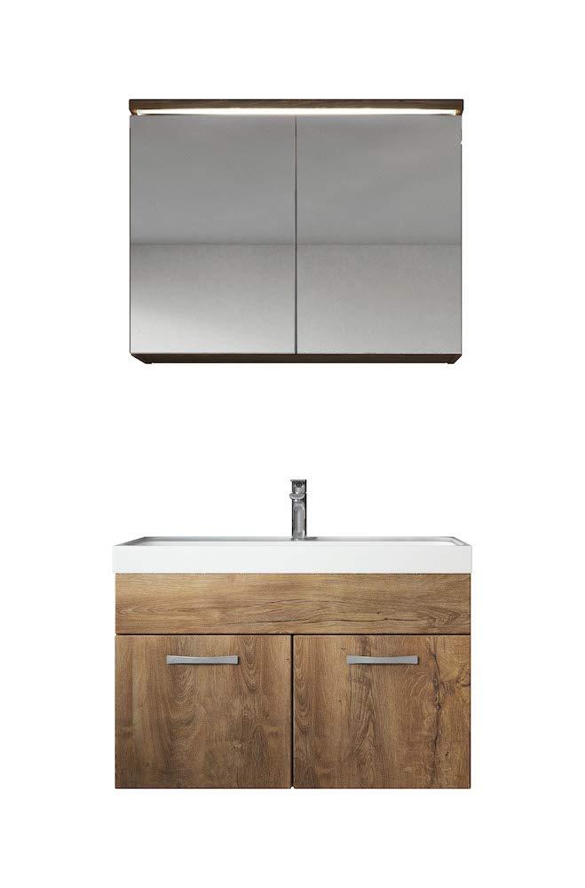 Badezimmer Badm/öbel Set Paso 02 80 cm Waschbecken Lefkas Braun Unterschrank Schrank Waschbecken Spiegelschrank Schrank
