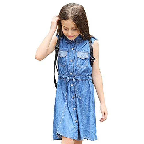Year Old Dresses 11 (YJ.GWL Girls Dress Summer Sleeveless Casual Denim Dress with)