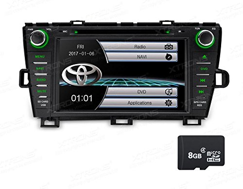 XTRONS 8 Inch HD Digital Touch Screen Car Stereo Radio In-Dash DVD Player with GPS Navigation Dual Channel CANbus Screen Mirroring Function for Toyota Prius by XTRONS