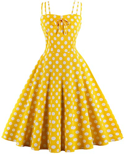 Women Vintage 1950s Rockabilly Cocktail Party Swing Dress F02 (Yellow, L) -