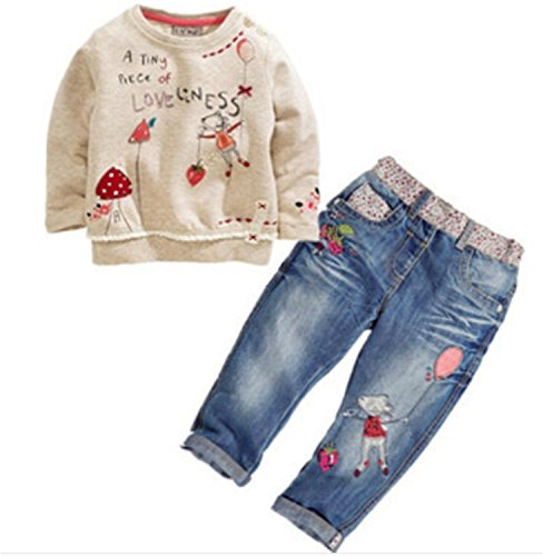 ODFAPP Adorable fashion children spring & autumn clothing sets for girls cartoon long-sleeved sweater + jeans suit sets kids costume color as picture5 (80's Womens Costumes Australia)