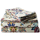 Tribeca Living 200-GSM Abstract Paisley Printed Deep Pocket Flannel Sheet Set, Queen, Multicolored