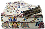 TRIBECA LIVING 200-GSM Abstract Paisley Printed Deep Pocket Flannel Sheet Set, King, Multicolored