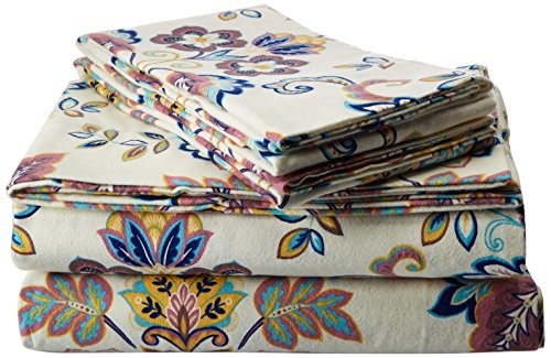 Tribeca Living 200-GSM Abstract Paisley Printed Deep Pocket Flannel Sheet Set, California King, Multicolored (Best Deep Pocket Flannel Sheets)